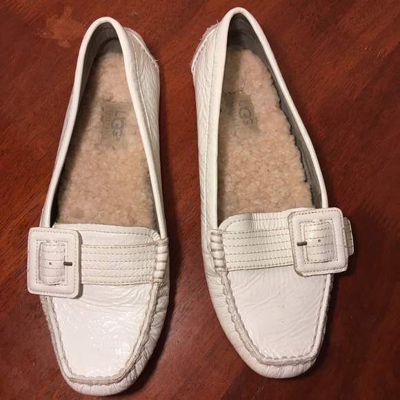 UGG Shoes - UGG White Patent Leather Driving Loafers